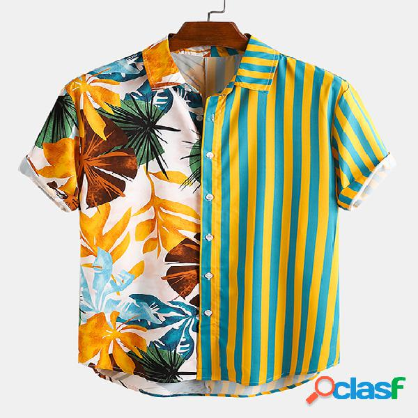 Incerun homens verão havaí praia patchwork tropical listrado boêmio camisa