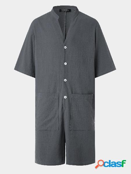 Macacão masculino casual manga curta com decote em v