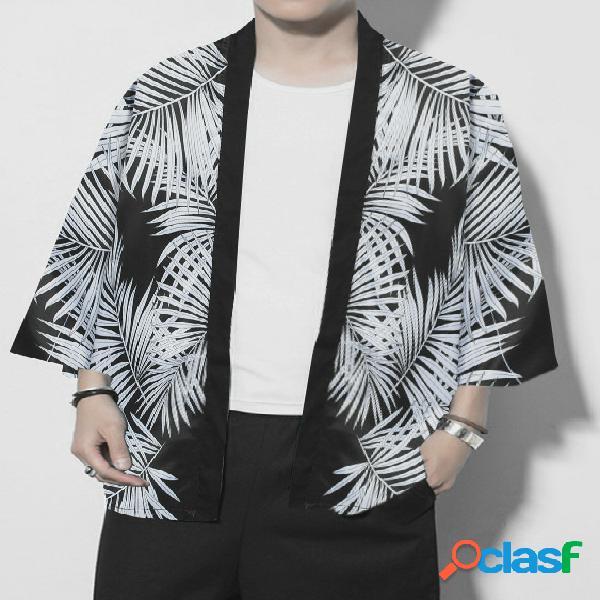Protetor solar casual retrô masculino com estampa completa de cardigã tropical