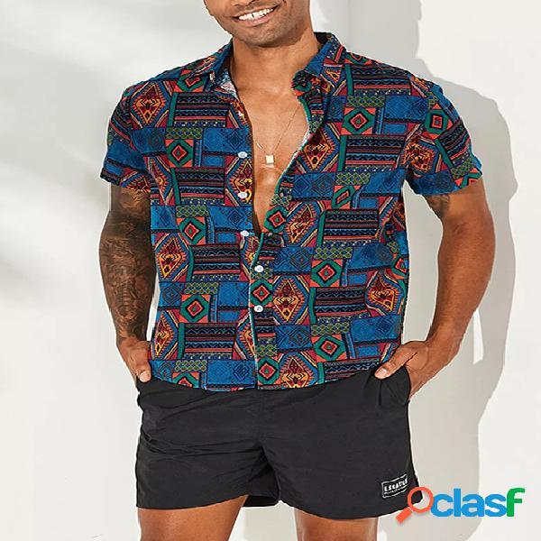 Incerun homens patchwork impressão algodão respirável manga curta solta estilo nacional casual camisa