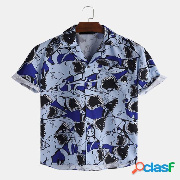Incerun lapela de impressão de tubarão de verão para homens solta camisa