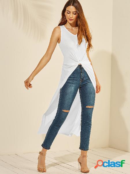 Yoins white twist design camiseta sem mangas com decote em v