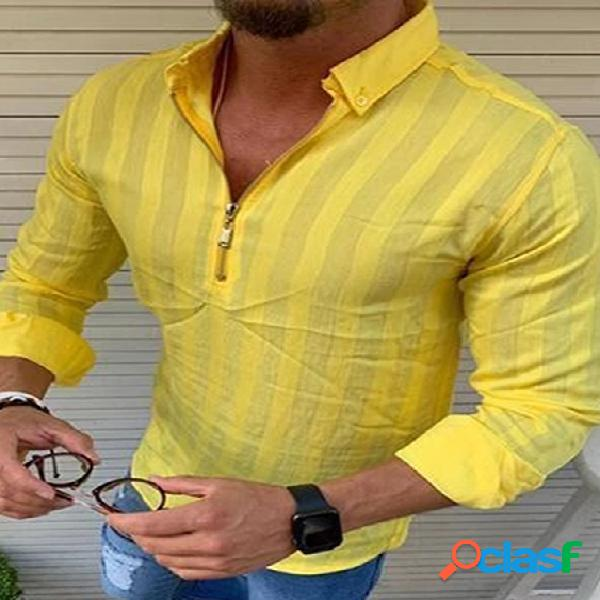 Incerun moda masculina listrada manga longa meio zíper casual camisa