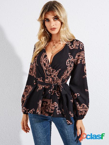 Yoins blusa de mangas compridas com estampa de lenço preto estampado em v