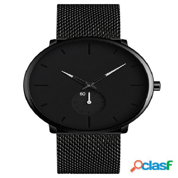 Relógio de pulso impermeável de aço inoxidável simples fashion