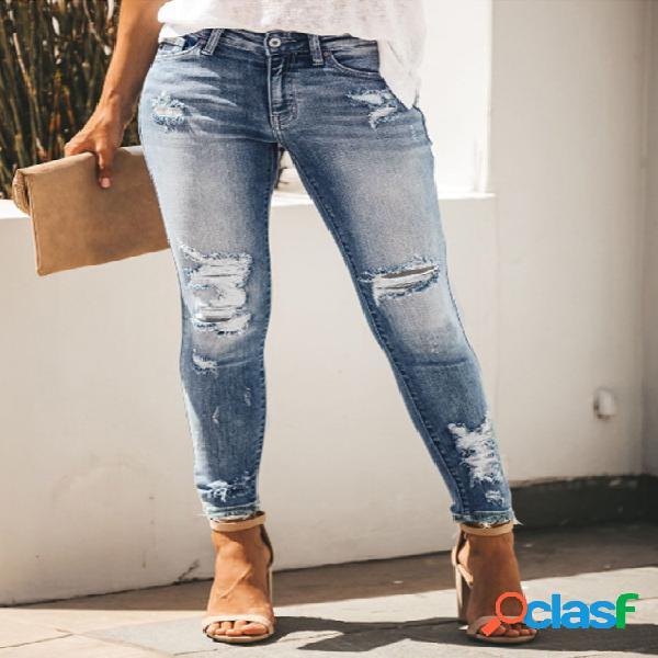 Blue random ripped denim jeans