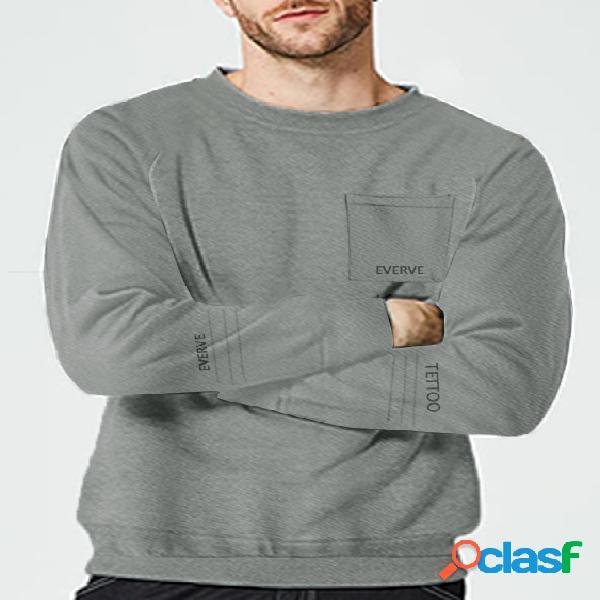 Moletom de gola redonda masculina casual moda outono