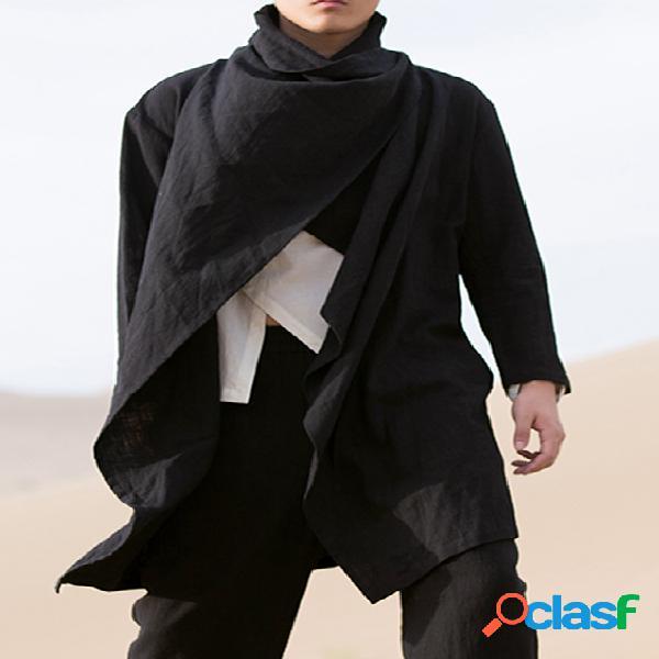 Cardigã masculino de manga comprida de tendência respirável de cor sólida irregular