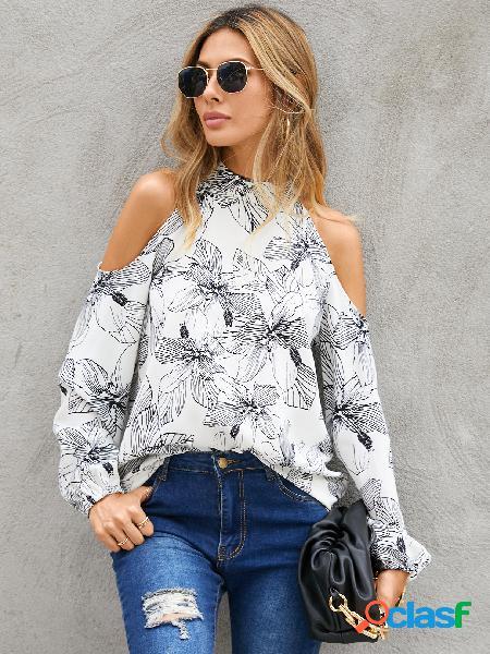 Yoins blusa de manga comprida branca aleatória com estampa floral de ombro frio