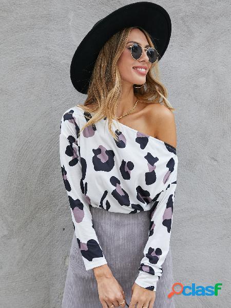 Yoins blusa de manga comprida branca leopardo sem ombro