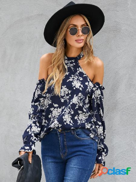Yoins blusa de manga comprida de ombro frio marinho estampado floral