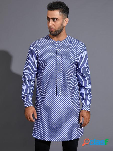 Homem casual listrado étnico impressão midi comprimento botão frente camisa