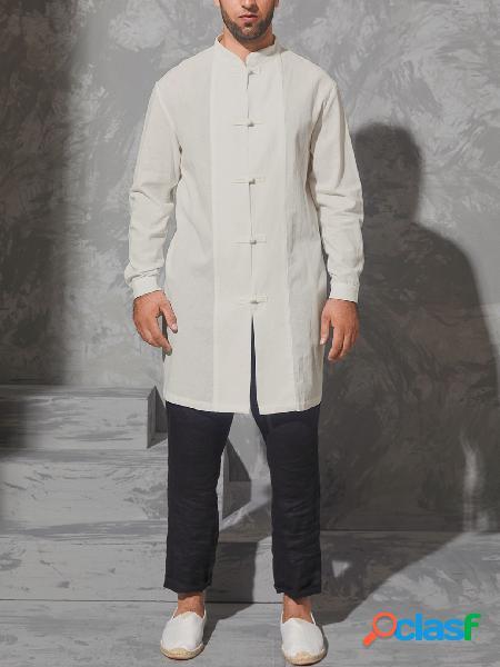 Homem outono casual colarinho simples manga longa camisa