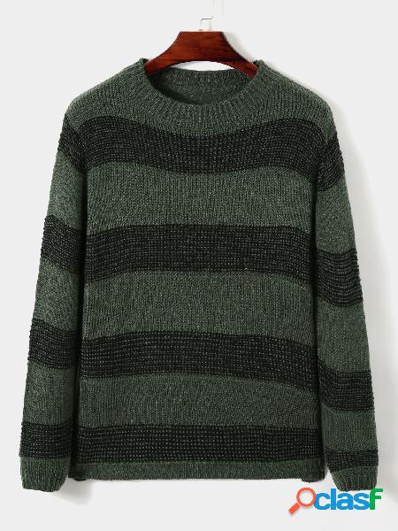 Camisola de manga comprida masculina outono inverno moda impressão listrada bloco de malha em volta do pescoço