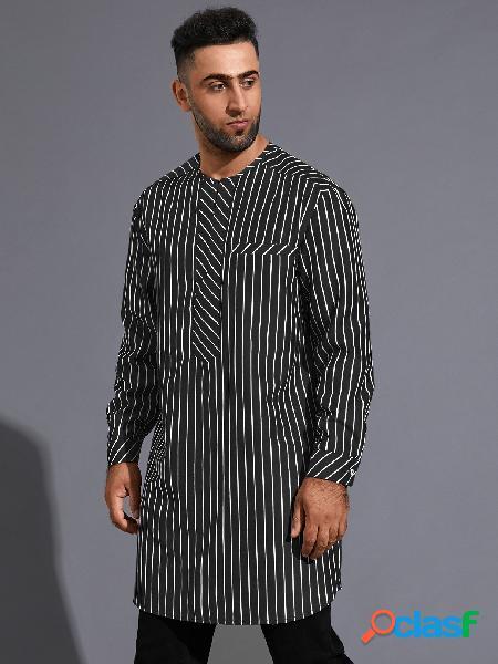 Homem casual listrado étnico estampa midi comprimento camisa
