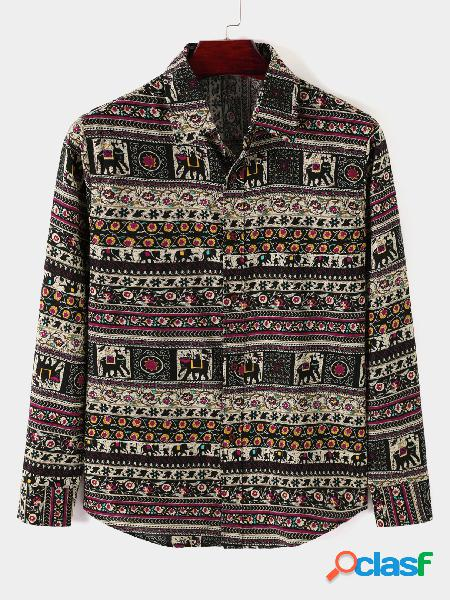 Camisa de manga comprida solta masculina casual estampada tribal