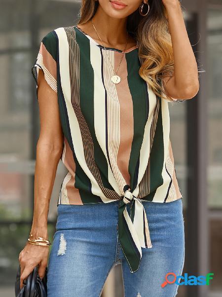 Yoins color block listrada tie-up design blusa de gola redonda