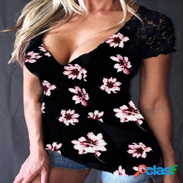 Yoins camiseta de manga curta com estampa floral preta aleatória com decote em v