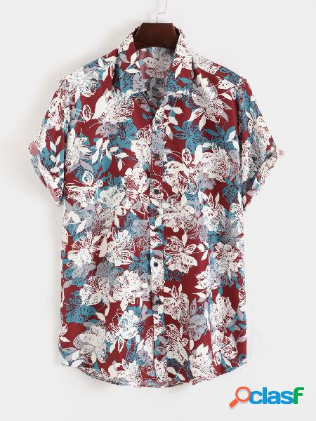 Estampado floral masculino bohemian praia feriado camisa