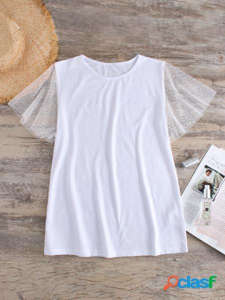 Camiseta de malha branca patchwork redondo pescoço