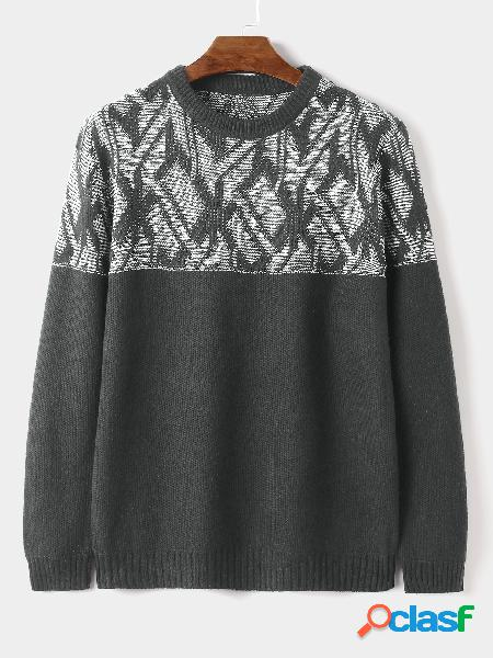 Camisola masculina de tricô casual com estampa geométrica quente de gola redonda