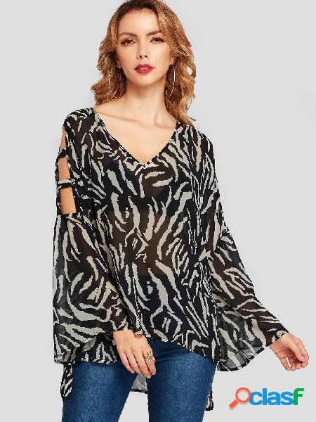 Yoins preto zebra blusa animal com decote em v recorte estampado