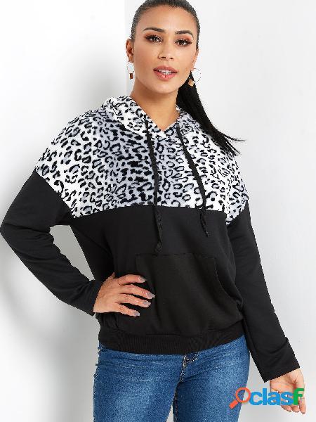 Bolsa preta leopardo com capuz de mangas compridas
