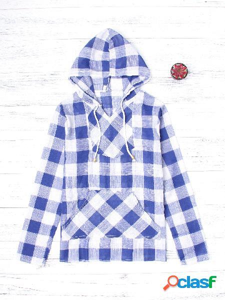 Blue grid padrão mangas compridas front patching capuz com capuz