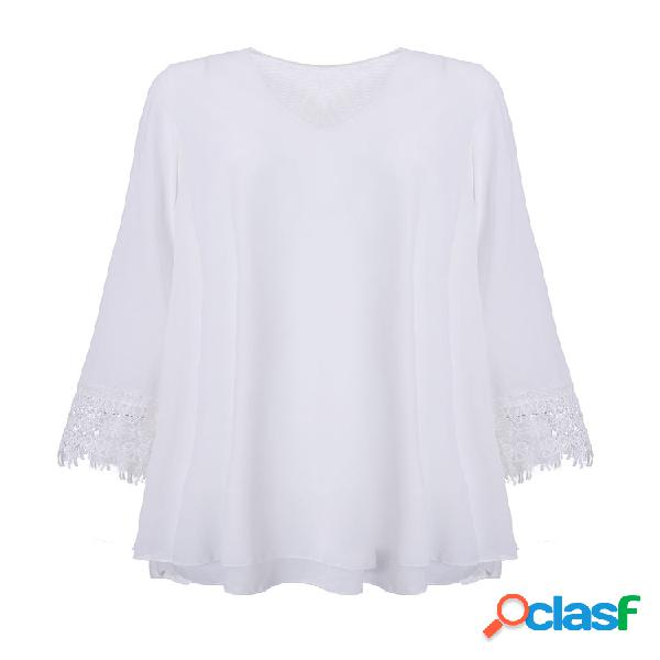 Chiffon casual Crochet Solid Color V-Neck blusa de manga comprida