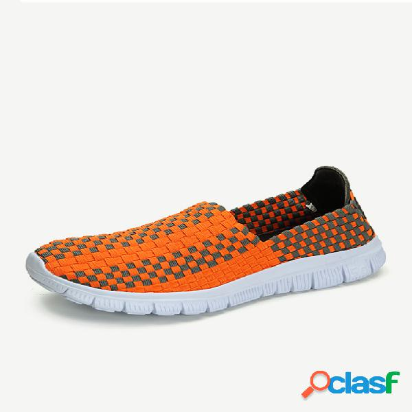 Colorful Stretch Color Match Tricô Slip On Casual Flat Sport Shoes