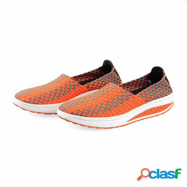Stretch casual respirável plataforma de tricô Slip On Shook Shoes tênis