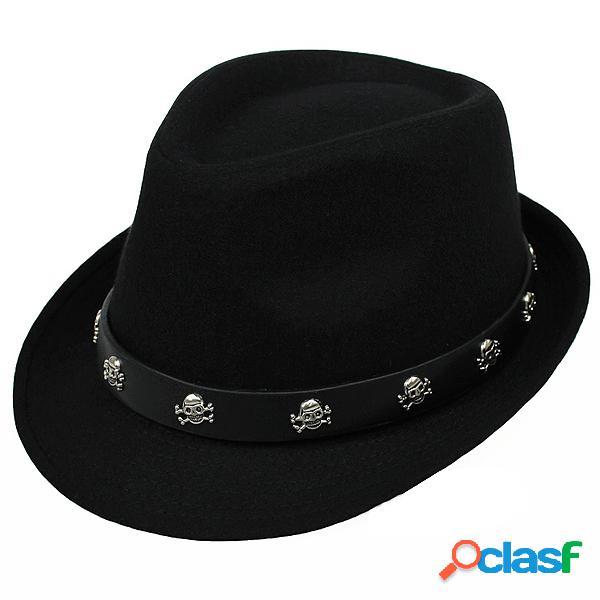Chapéu masculino britânico retro de lã de jazz de crossbones