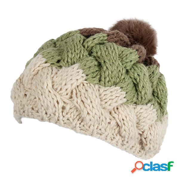 Pele de coelho malha plana bola gorro chapéu ajustável elástica lã boina cap