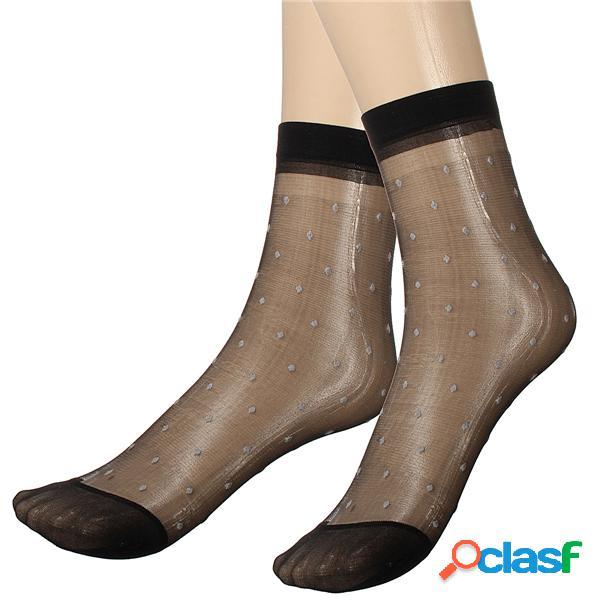 10 pares de senhora menina rendas ultra-fina fibra denier tornozelo alta pop pontos meias