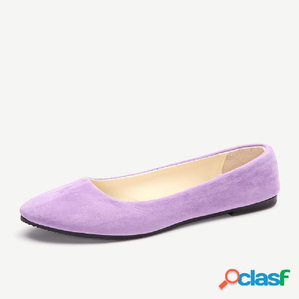 Tamanho grande camurça cor doce cor pura cor clara dedo apontado deslize em sapatos baixos