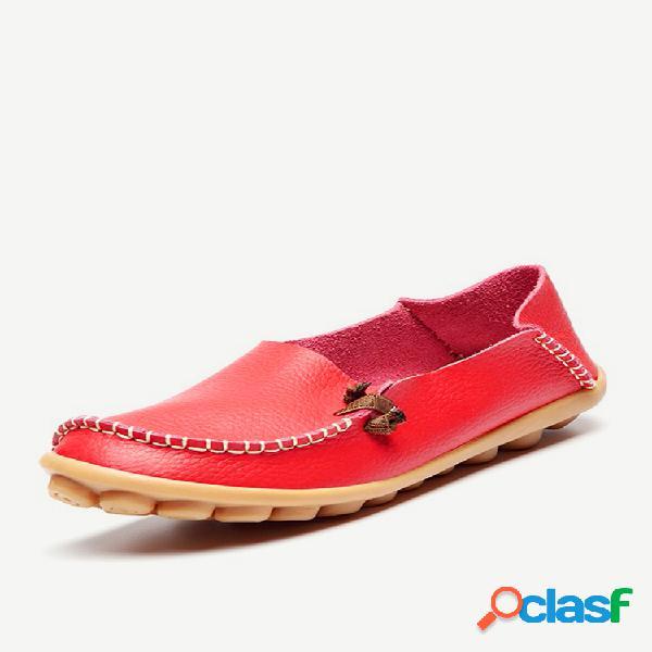 Tamanho grande sapatos planos de couro macio sapatos confortáveis de cor pura para mulheres