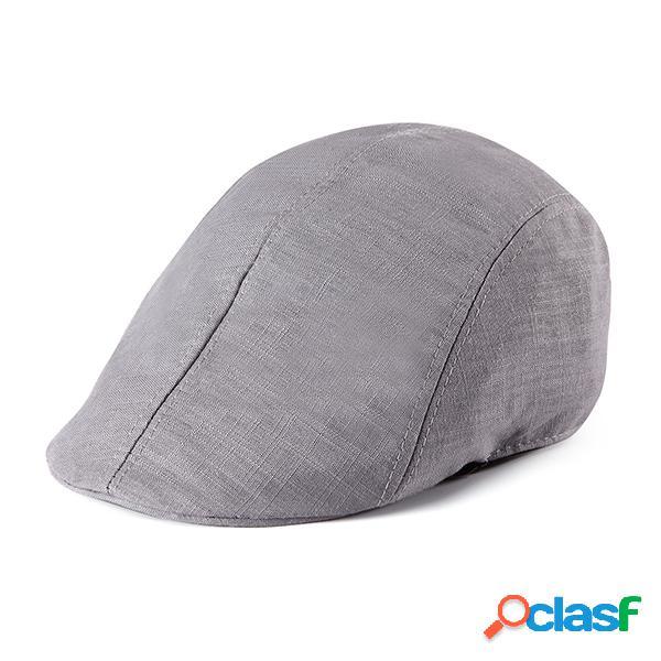 Homens mulheres algodão boina sólida cap casual retro forward chapéu