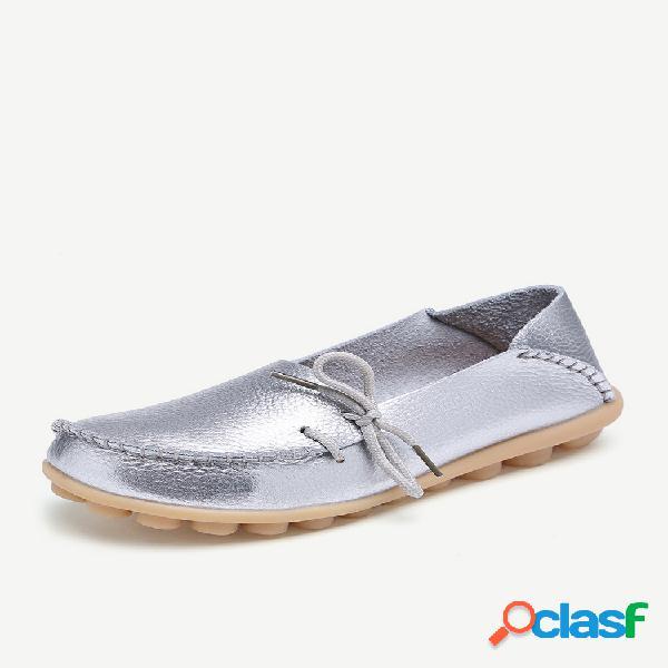 Tamanho grande sapatos planos de couro macio de cor pura