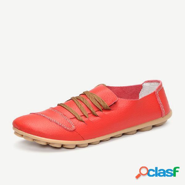Tamanho grande calçado de couro plano casual suave com cadarço