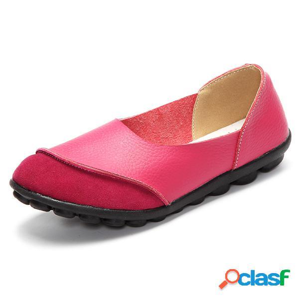 Tamanho grande de correspondência de cor suave padrão casual sapatos baixos