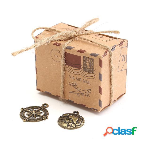 50 pcs papel kraft caixa avião correio doces caixa favores do casamento rústico gasto presente do vintage sacos de embalagem