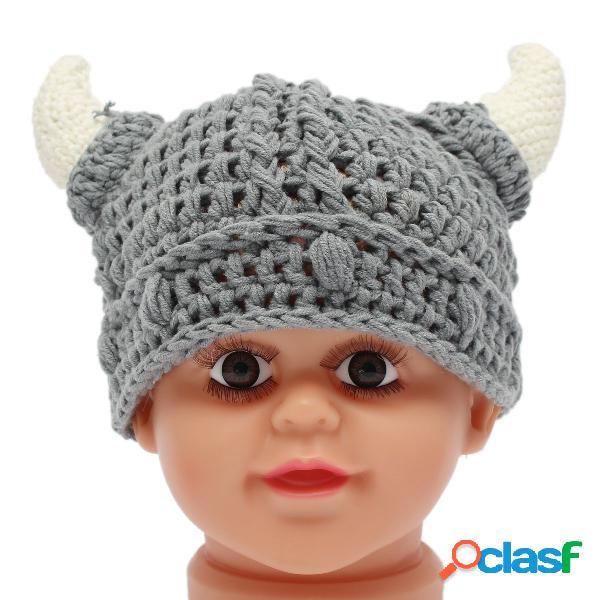 Bebê recém-nascido meninas meninos chifre de lã de malha chapéu soft foto props crochet cap
