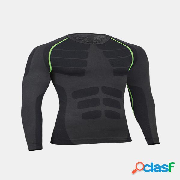 Traning elastic quick-secagem respirável sports aptidão collants t-shirt de manga comprida para homens