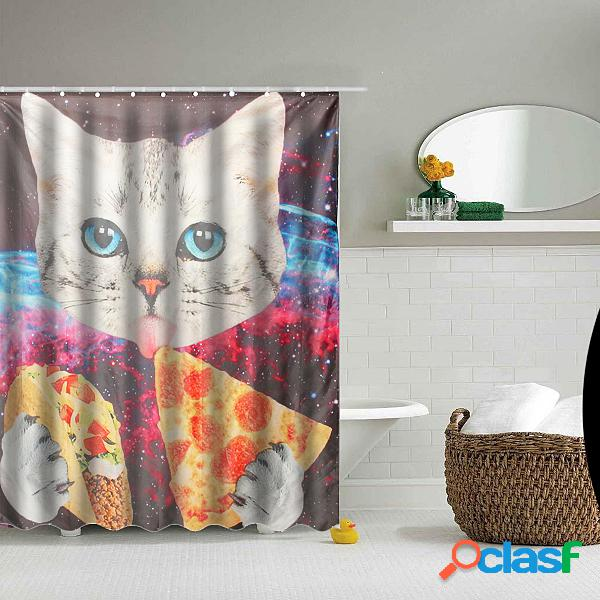 150x180cm elegante impermeável espaço nebulosa universe cat eat pizza shower curtain with 12 hooks
