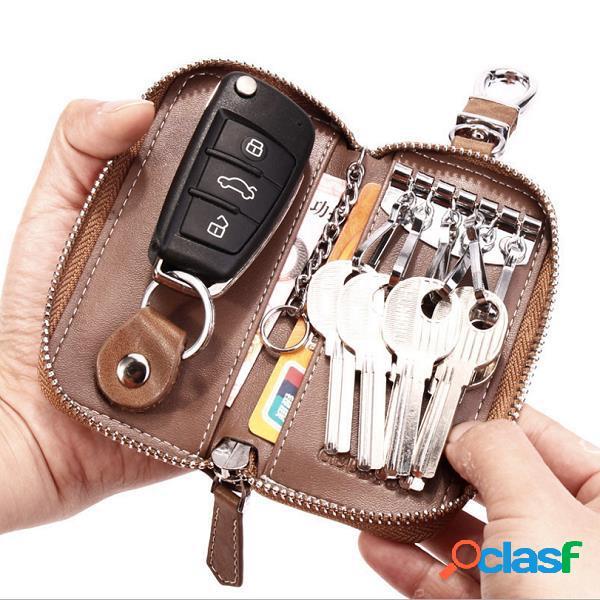 Carteira feminina e masculina de couro com zíper portátil porta-chaves para armazenamento de chaves e cartão de bolso