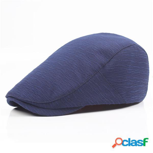 Homens algodão cor sólida beret cap ajustável buckle paper boy cabbie golf gentleman chapéu