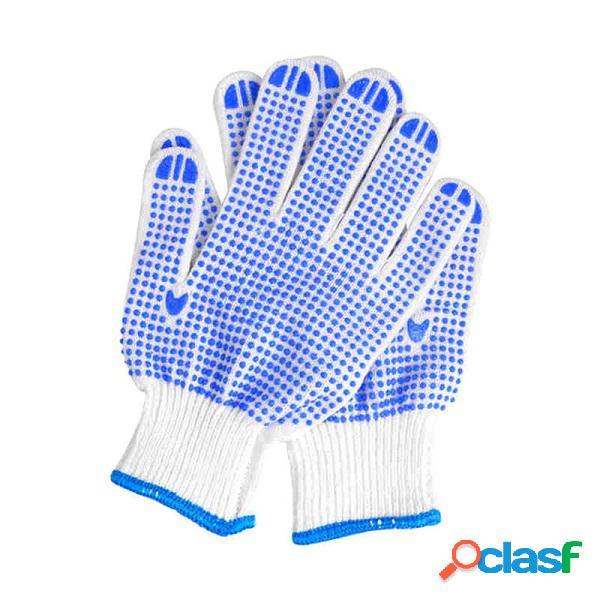 Proteção trabalhista luvas resistentes ao desgaste antidesgaste luvas azuis para pontos plásticos luz jardim confortável