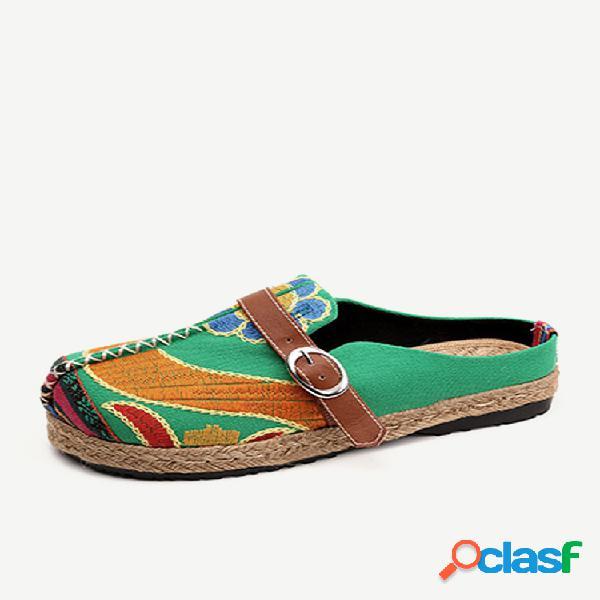 Sapatos planos coloridos sem encosto de fivela bordado para mulheres