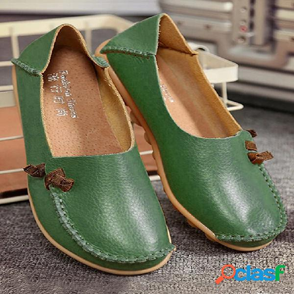 Tamanho grande de forma suave multi - usar cor pura loafers planos