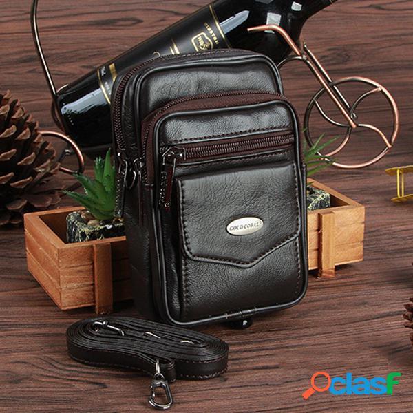 Bolsa casual transversal de cintura couro genuíno com multi bolsos